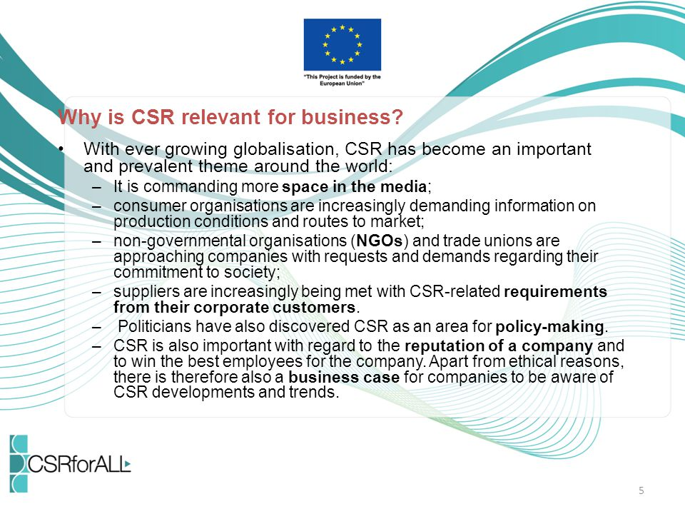 Why is CSR relevant for business.