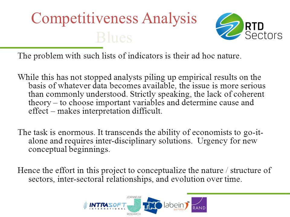 Competitiveness Analysis Blues The problem with such lists of indicators is their ad hoc nature. While this has not stopped analysts piling up empiric