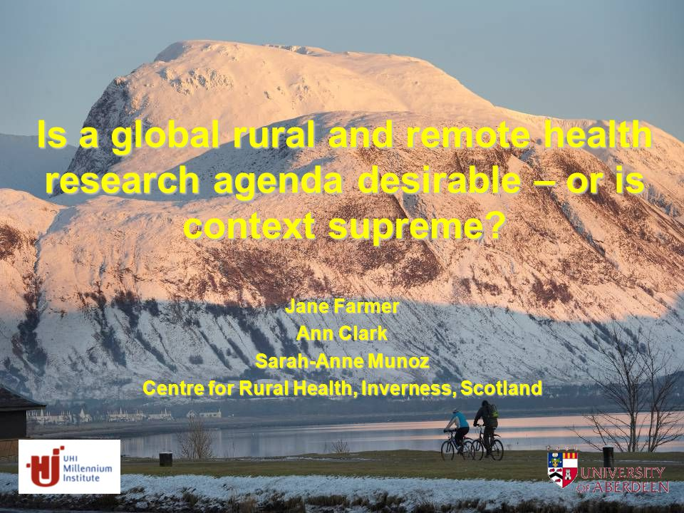 Is a global rural and remote health research agenda desirable – or is context supreme.