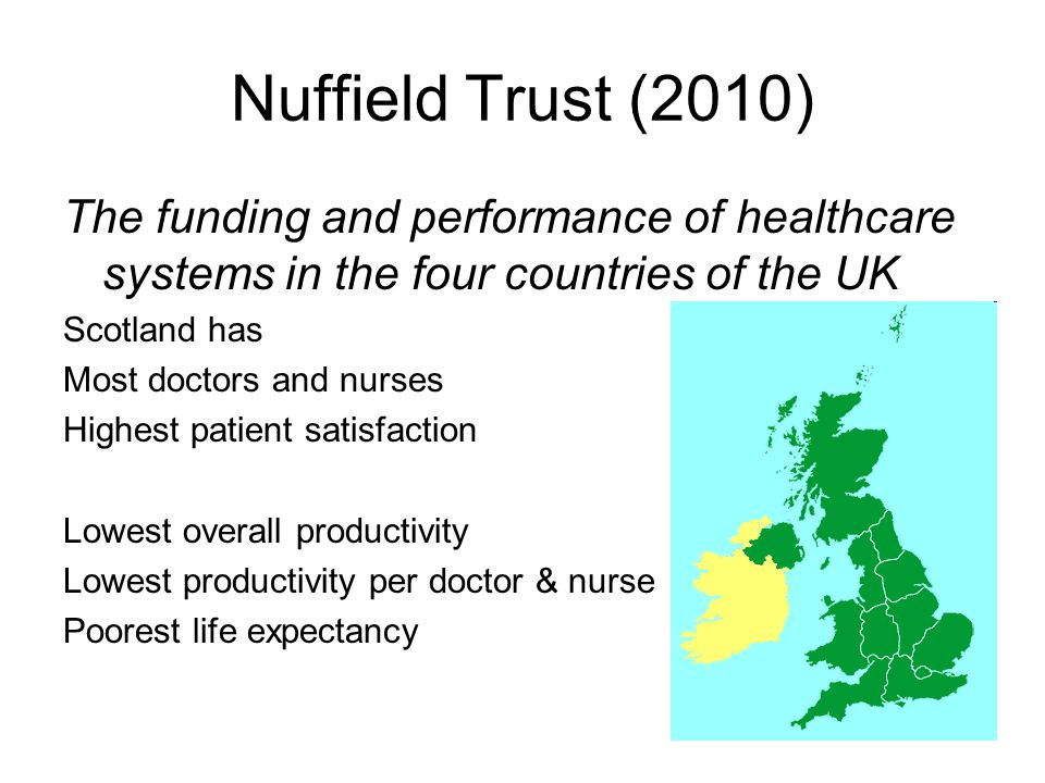 Nuffield Trust (2010) The funding and performance of healthcare systems in the four countries of the UK Scotland has Most doctors and nurses Highest patient satisfaction Lowest overall productivity Lowest productivity per doctor & nurse Poorest life expectancy