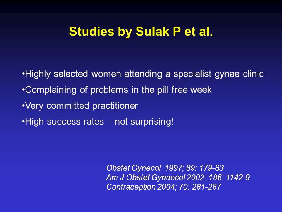 Studies by Sulak P et al.