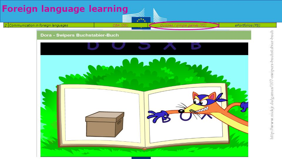 Foreign language learning 2Communication in foreign languagesCBA (DS)Quizzes / simple games (FD)ePortfolios (FS) http://www.nickjr.de/games/107-swipers-buchstabier-buch