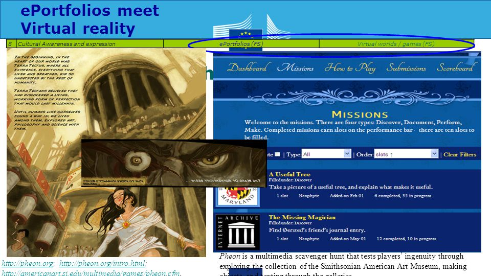 A game approach to arts 8Cultural Awareness and expressionePortfolios (FS)Virtual worlds / games (FS) http://pheon.orghttp://pheon.org; http://pheon.org/intro.html; http://americanart.si.edu/multimedia/games/pheon.cfm.http://pheon.org/intro.html http://americanart.si.edu/multimedia/games/pheon.cfm Pheon is a multimedia scavenger hunt that tests players ' ingenuity through exploring the collection of the Smithsonian American Art Museum, making objects, and texting through the galleries ePortfolios meet Virtual reality