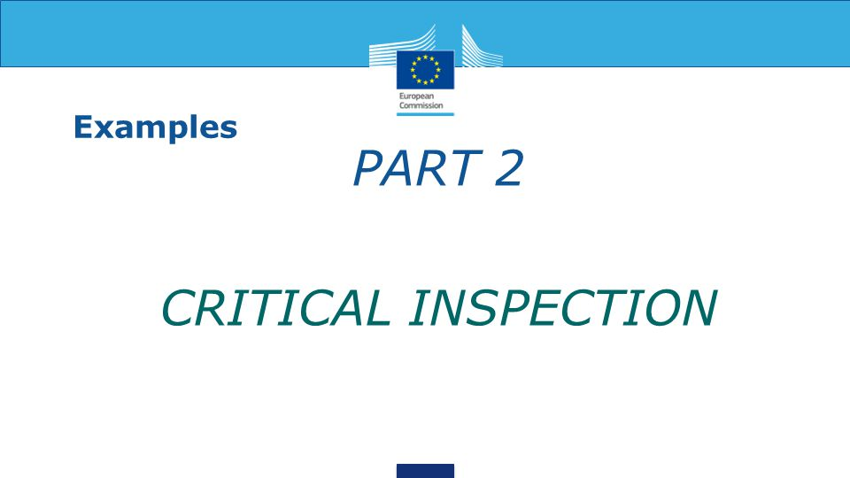 Examples PART 2 CRITICAL INSPECTION