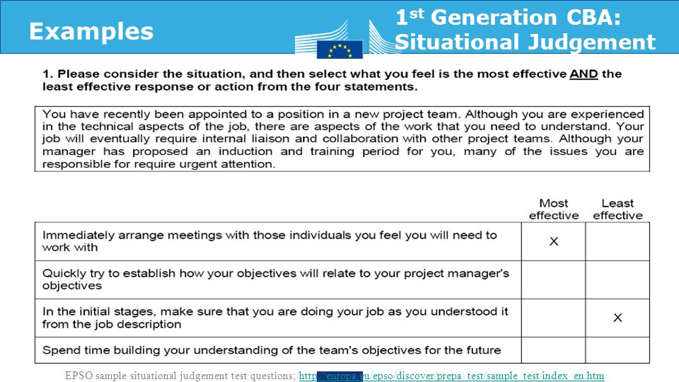 1 st Generation CBA: Situational Judgement EPSO sample situational judgement test questions; http://europa.eu/epso/discover/prepa_test/sample_test/index_en.htmhttp://europa.eu/epso/discover/prepa_test/sample_test/index_en.htm Examples