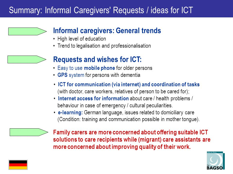 Summary: Informal Caregivers Requests / ideas for ICT ICT for communication (via internet) and coordination of tasks (with doctor, care workers, relatives of person to be cared for); Internet access for information about care / health problems / behaviour in case of emergency / cultural peculiarities.