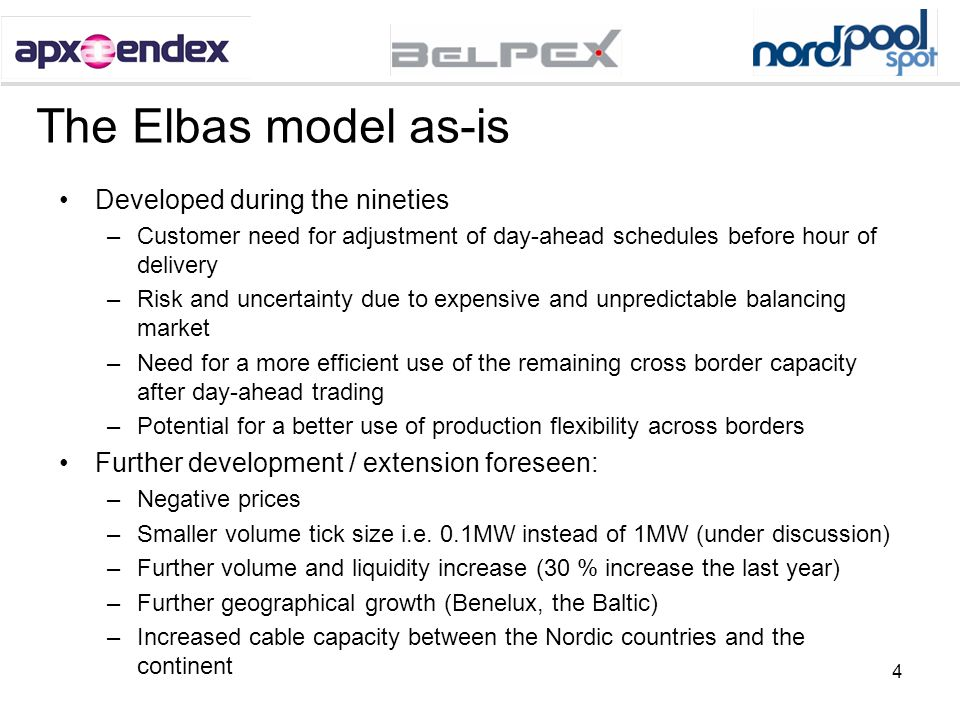 4 The Elbas model as-is Developed during the nineties –Customer need for adjustment of day-ahead schedules before hour of delivery –Risk and uncertain