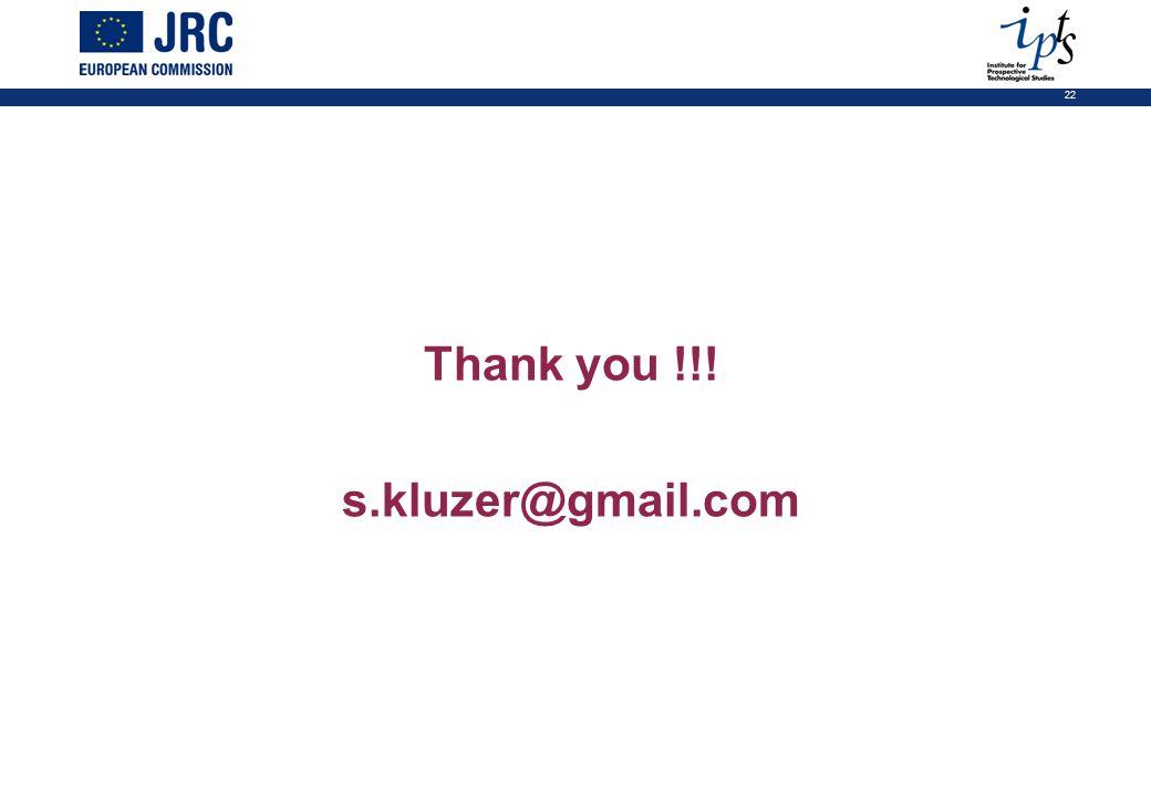 22 Thank you !!! s.kluzer@gmail.com