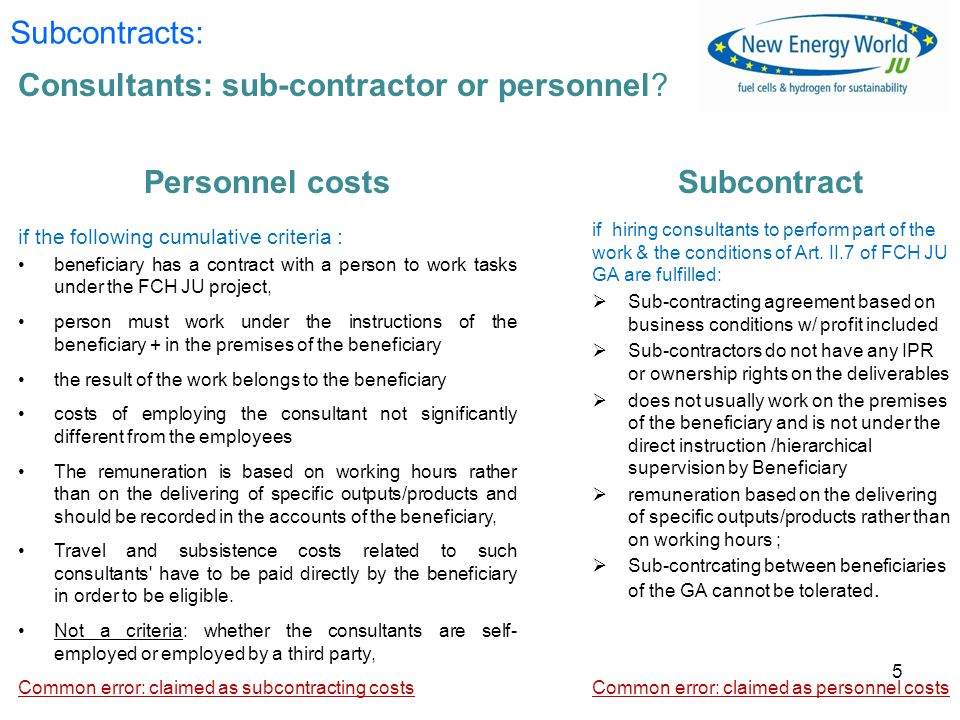 Consultants: sub-contractor or personnel.