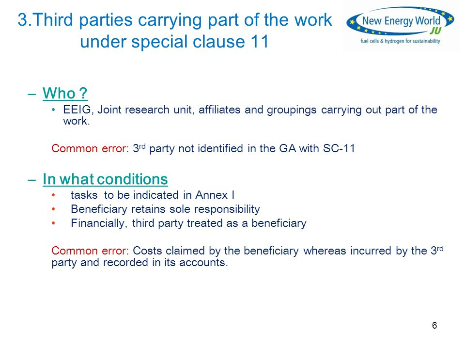 3.Third parties carrying part of the work under special clause 11 –Who .