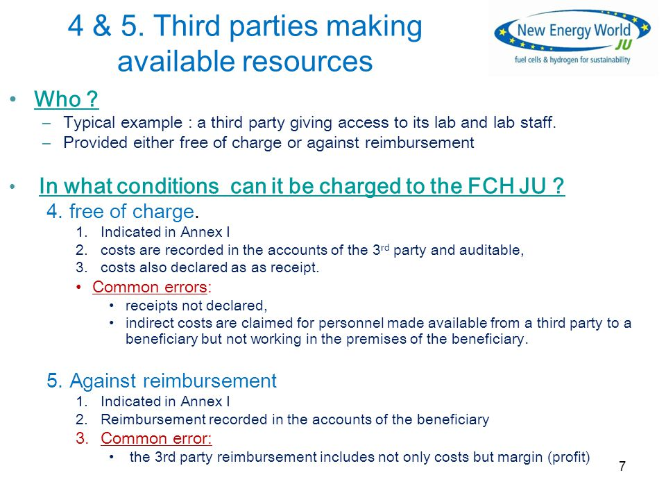 4 & 5. Third parties making available resources Who .