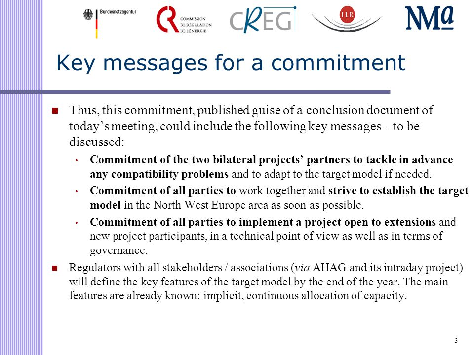 Key messages for a commitment Thus, this commitment, published guise of a conclusion document of today's meeting, could include the following key messages – to be discussed: Commitment of the two bilateral projects' partners to tackle in advance any compatibility problems and to adapt to the target model if needed.
