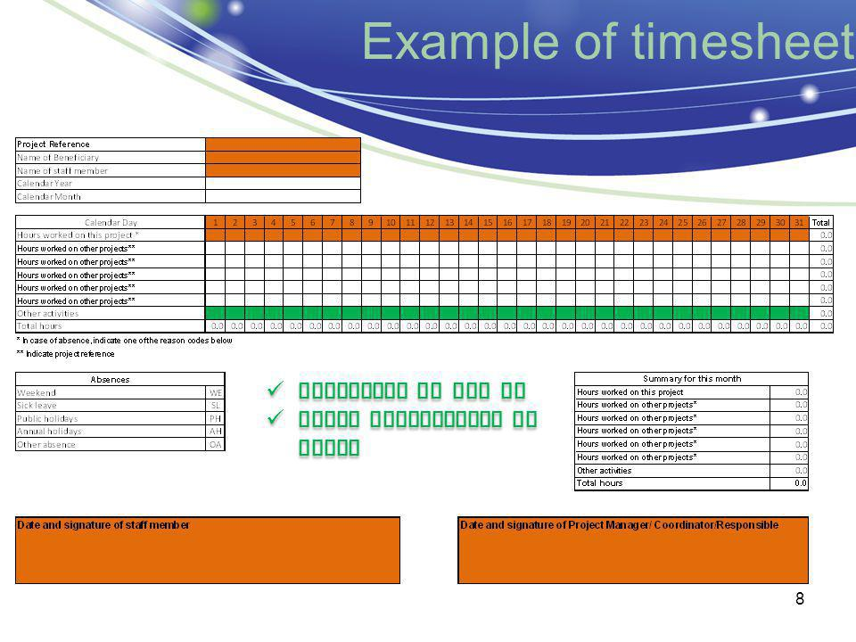 Example of timesheet 8 Reference to the WP Brief description of tasks Reference to the WP Brief description of tasks