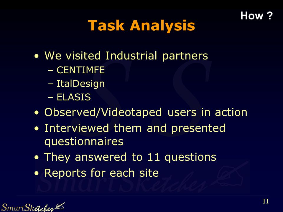 S 11 Task Analysis We visited Industrial partners –CENTIMFE –ItalDesign –ELASIS Observed/Videotaped users in action Interviewed themand presented questionnaires They answered to 11 questions Reports for each site How