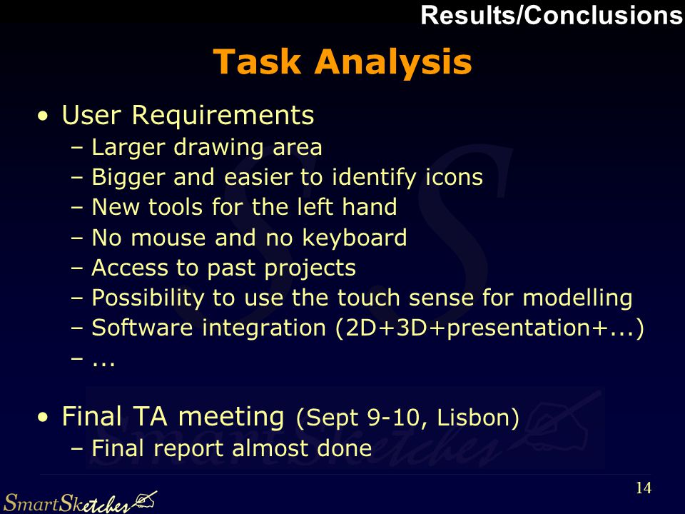 S 14 Task Analysis User Requirements –Larger drawing area –Bigger and easier to identify icons –New tools for the left hand –No mouse and no keyboard –Access to past projects –Possibility to use the touch sense for modelling –Software integration (2D+3D+presentation+...) –...