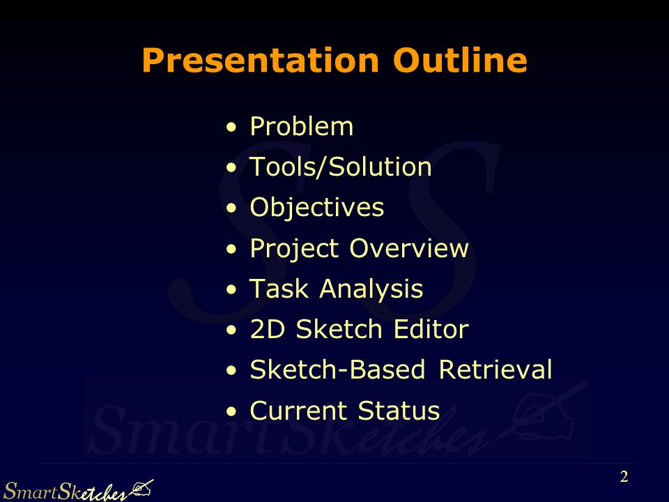 S 23 Project Outline and Status Integration and Final Prototype Integration and Final Prototype Final User Evaluation User Requeriments & Task Analysis User Requeriments & Task Analysis API Specification API Specification Field and User Tests Constraint-Based Scene Modelling Sketch-Based Retrieval 2D Sketch Editor for Modelling 2D Sketch Editor for Modelling 3D Surface Sketching Prototypes Done Almost Done Working On It