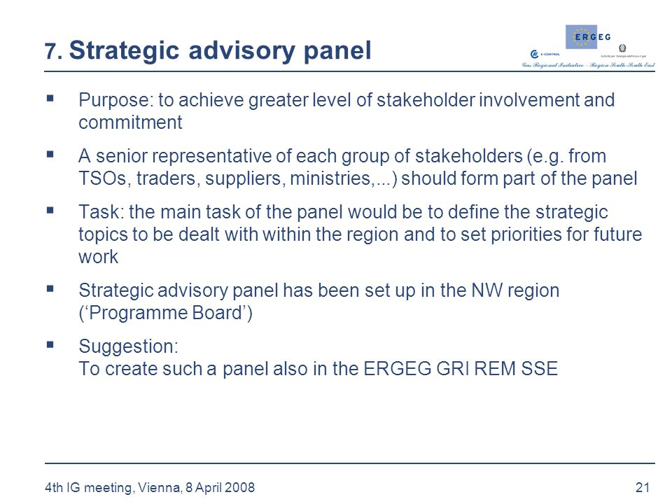 21 4th IG meeting, Vienna, 8 April 2008 7. Strategic advisory panel  Purpose: to achieve greater level of stakeholder involvement and commitment  A