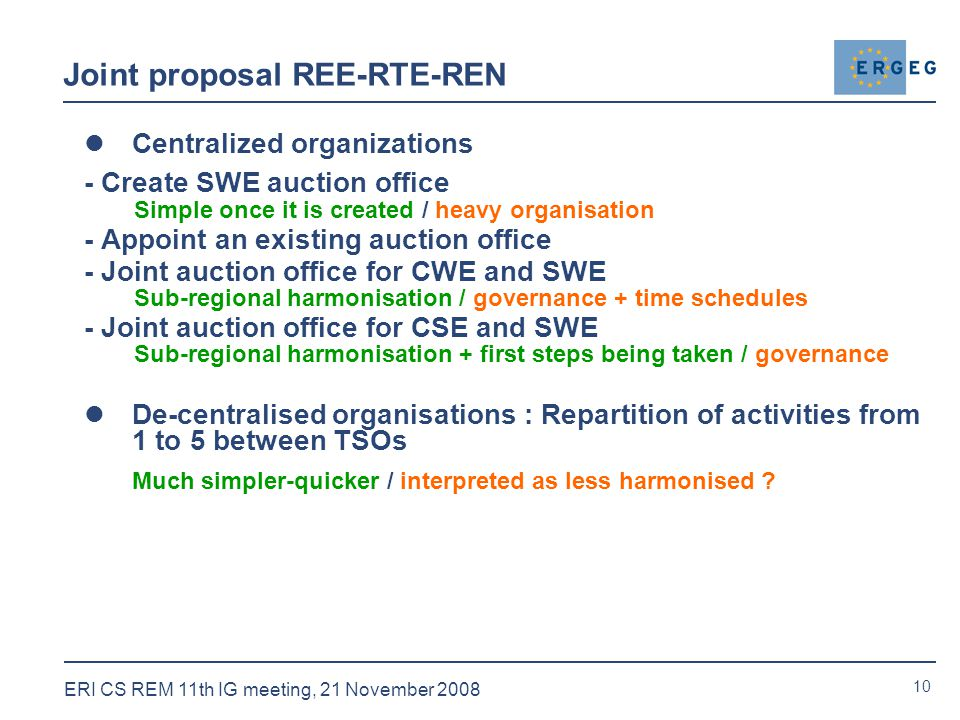 10 ERI CS REM 11th IG meeting, 21 November 2008 Joint proposal REE-RTE-REN Centralized organizations - Create SWE auction office Simple once it is created / heavy organisation - Appoint an existing auction office - Joint auction office for CWE and SWE Sub-regional harmonisation / governance + time schedules - Joint auction office for CSE and SWE Sub-regional harmonisation + first steps being taken / governance De-centralised organisations : Repartition of activities from 1 to 5 between TSOs Much simpler-quicker / interpreted as less harmonised