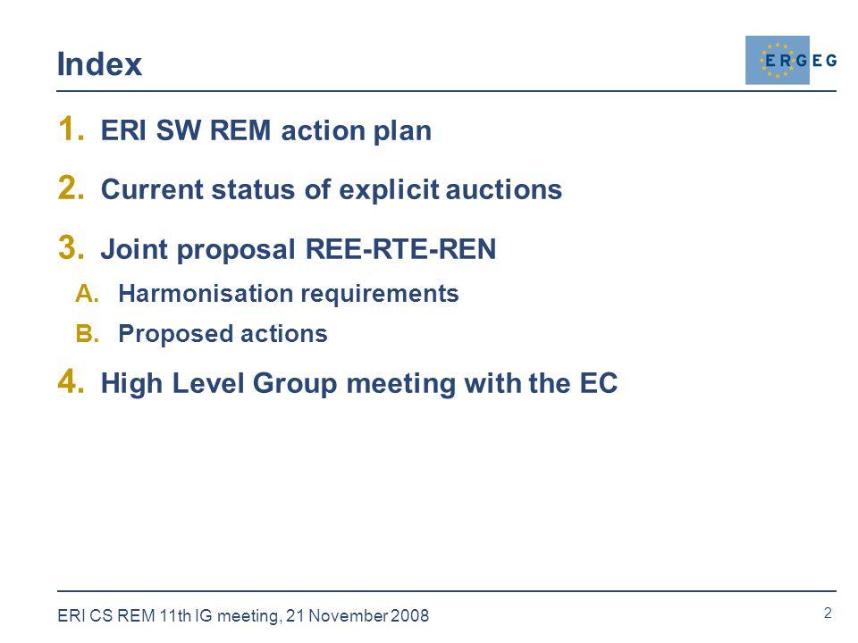 2 ERI CS REM 11th IG meeting, 21 November 2008 Index 1.