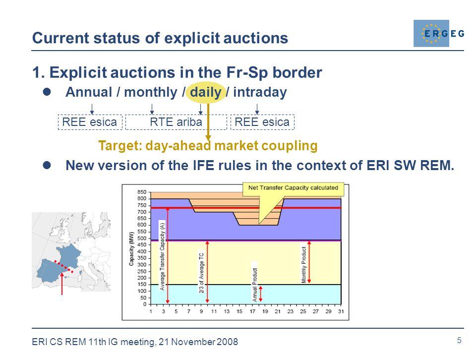 5 ERI CS REM 11th IG meeting, 21 November 2008 Current status of explicit auctions 1.