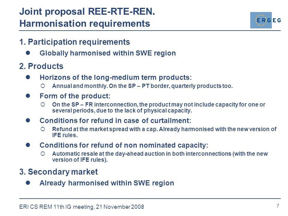 7 ERI CS REM 11th IG meeting, 21 November 2008 Joint proposal REE-RTE-REN.