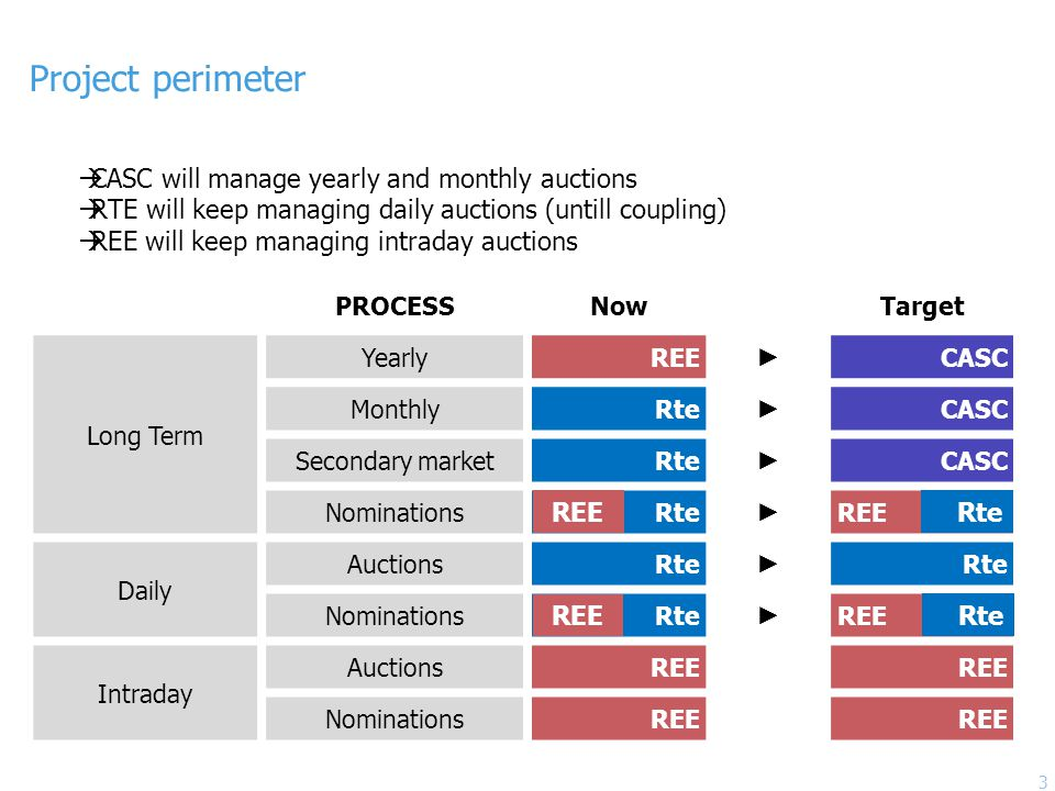 Project perimeter  CASC will manage yearly and monthly auctions  RTE will keep managing daily auctions (untill coupling)  REE will keep managing intraday auctions PROCESSNowTarget Long Term YearlyREE ► CASC MonthlyRte ► CASC Secondary marketRte ► CASC NominationsRte ► REE Daily AuctionsRte ► NominationsRte ► REE Intraday AuctionsREE NominationsREE Rte REE Rte 3
