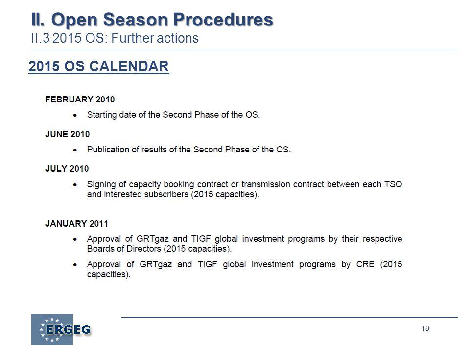 18 II. Open Season Procedures II. Open Season Procedures II.3 2015 OS: Further actions 2015 OS CALENDAR