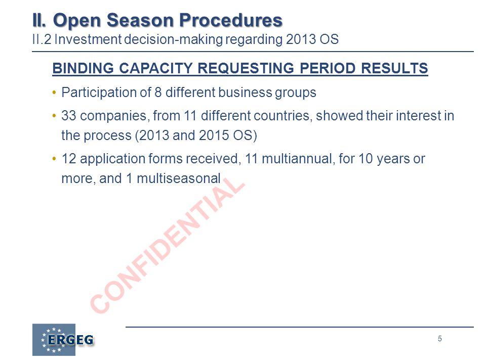 5 CONFIDENTIAL II. Open Season Procedures II. Open Season Procedures II.2 Investment decision-making regarding 2013 OS BINDING CAPACITY REQUESTING PER