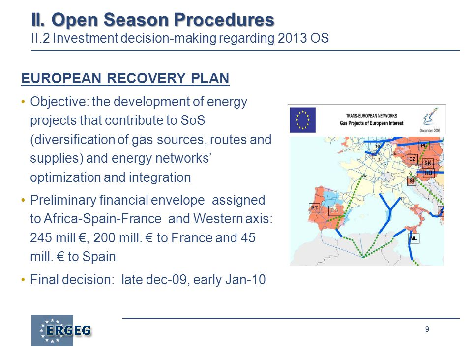 9 II. Open Season Procedures II. Open Season Procedures II.2 Investment decision-making regarding 2013 OS EUROPEAN RECOVERY PLAN Objective: the develo