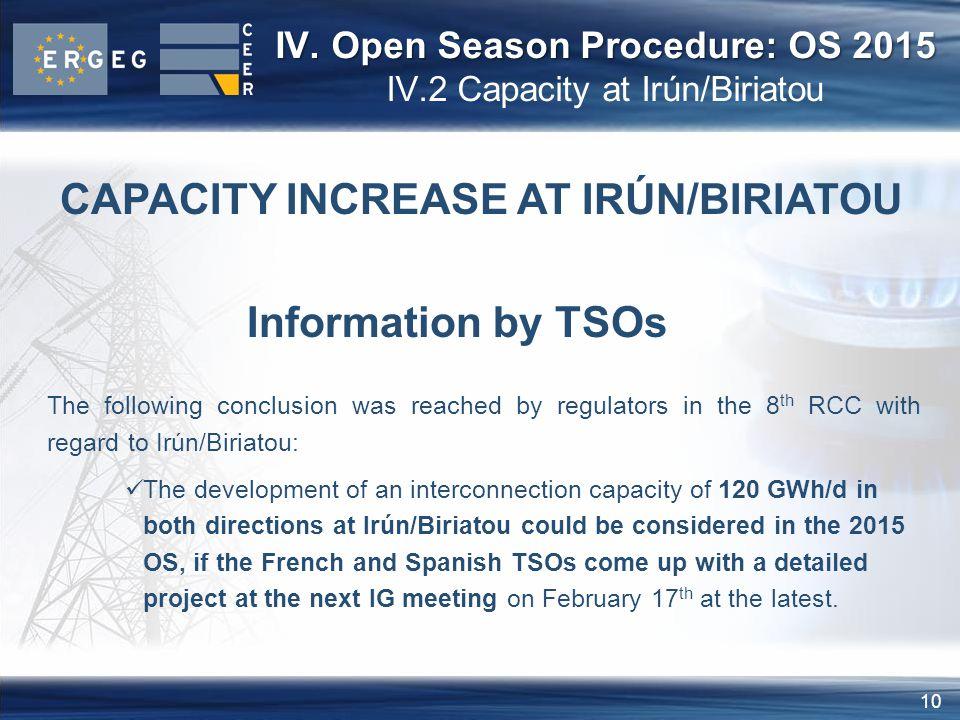 10 CAPACITY INCREASE AT IRÚN/BIRIATOU Information by TSOs IV.