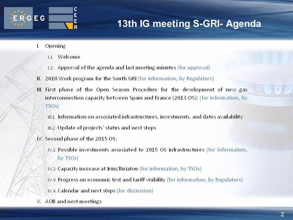 2 13th IG meeting S-GRI- Agenda