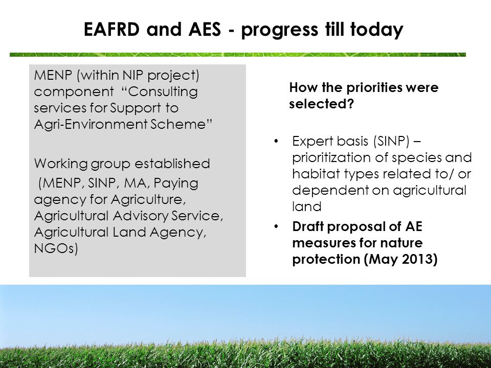 National priorities identified Horizontal measures for grasslands arable land (wildflower strips) meadow orchards and traditional olive grows landscape elements (hedgerows and stone walls carp fish ponds development of nature protection plans for 100 selected farms Pilot measures for protection of particular species (corncrake and large-blue butterfly)