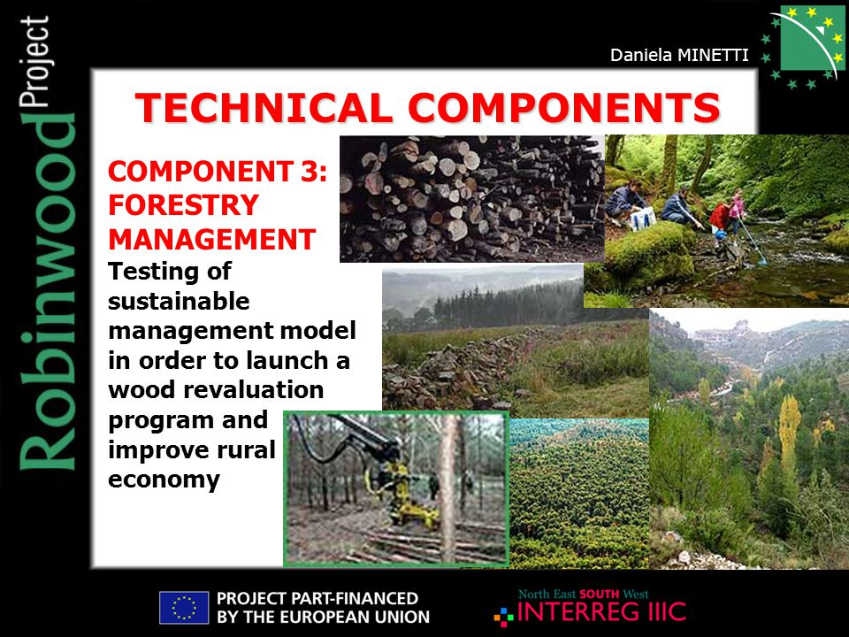 COMPONENT 3: FORESTRY MANAGEMENT Testing of sustainable management model in order to launch a wood revaluation program and improve rural economy TECHNICAL COMPONENTS Daniela MINETTI