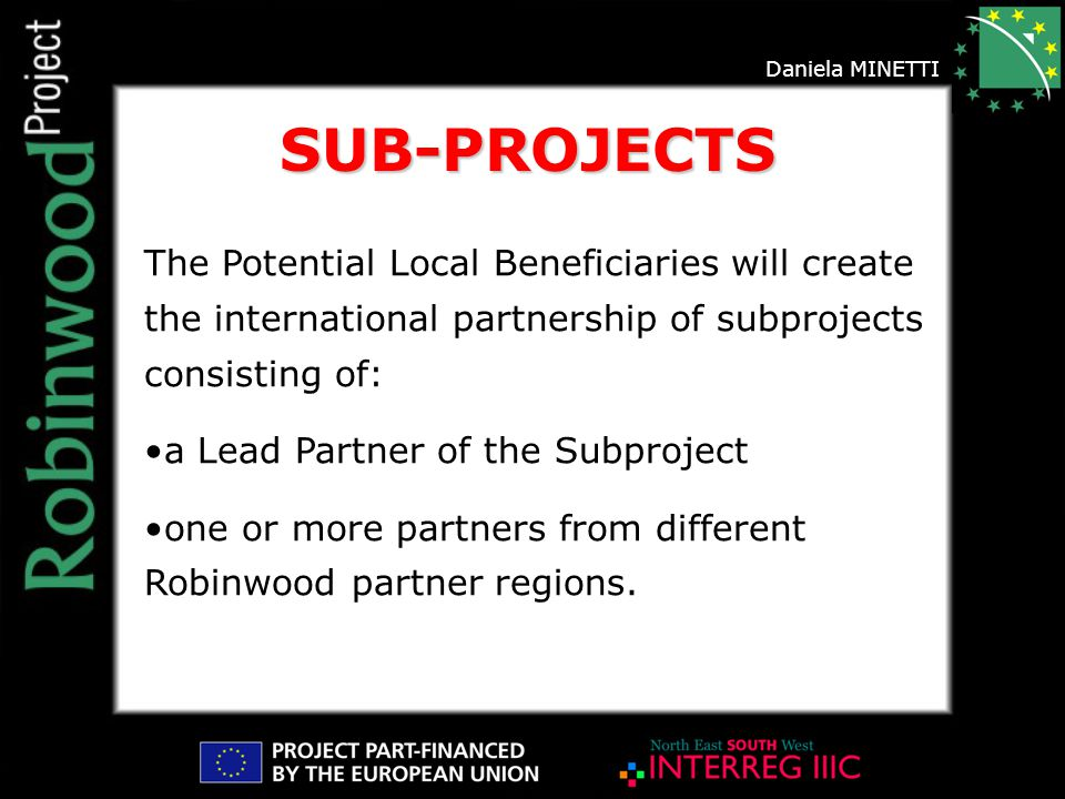 Daniela MINETTI The Potential Local Beneficiaries will create the international partnership of subprojects consisting of: a Lead Partner of the Subproject one or more partners from different Robinwood partner regions.