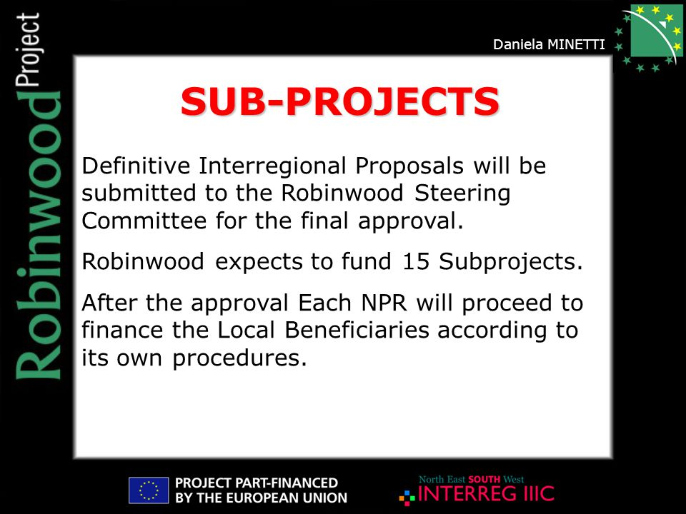 Daniela MINETTI Definitive Interregional Proposals will be submitted to the Robinwood Steering Committee for the final approval.
