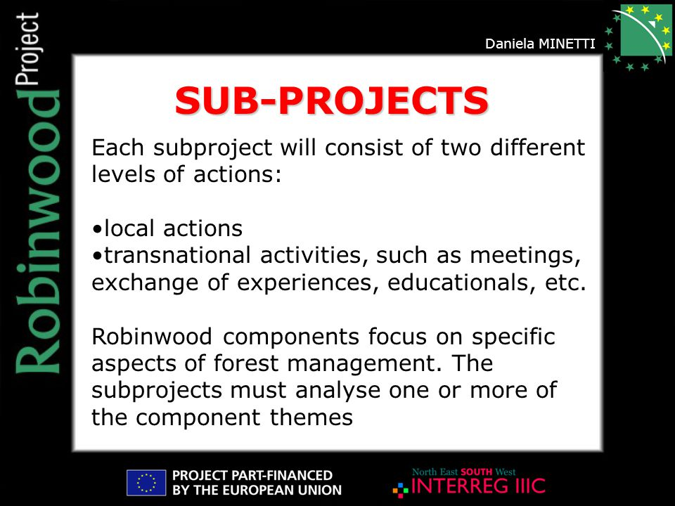 Daniela MINETTI Each subproject will consist of two different levels of actions: local actions transnational activities, such as meetings, exchange of experiences, educationals, etc.