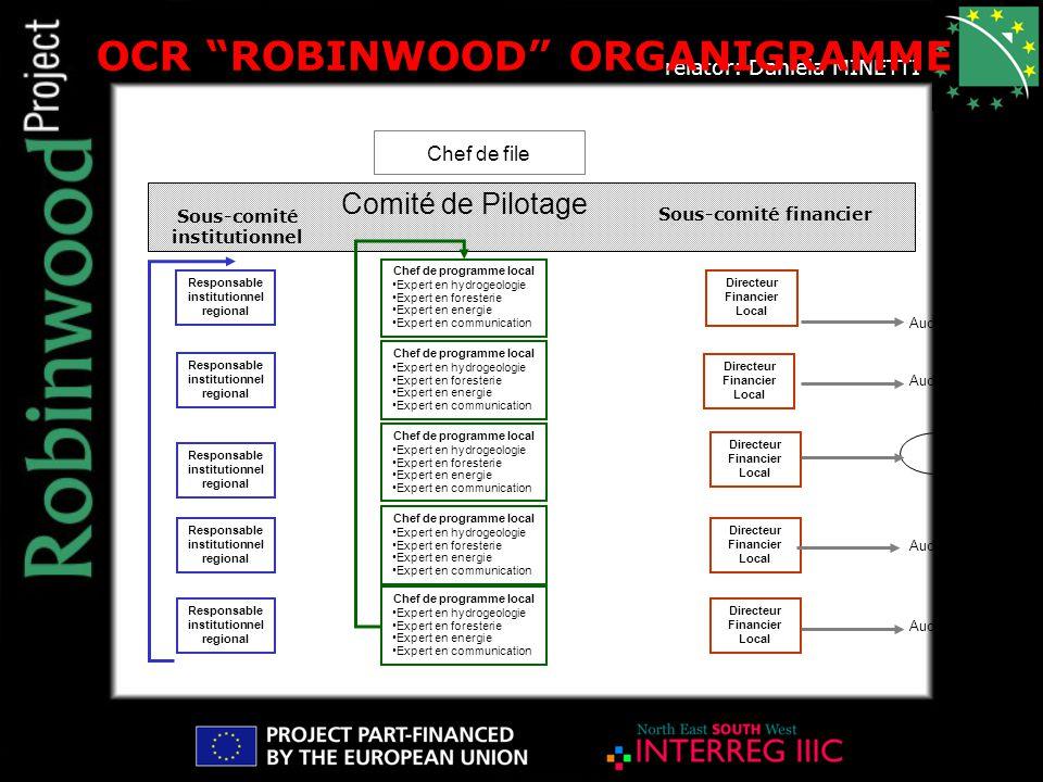 """relator: Daniela MINETTI OCR """"ROBINWOOD"""" ORGANIGRAMME Sous-comité institutionnel Chef de file Sous-comité financier Comité de Pilotage Responsable ins"""