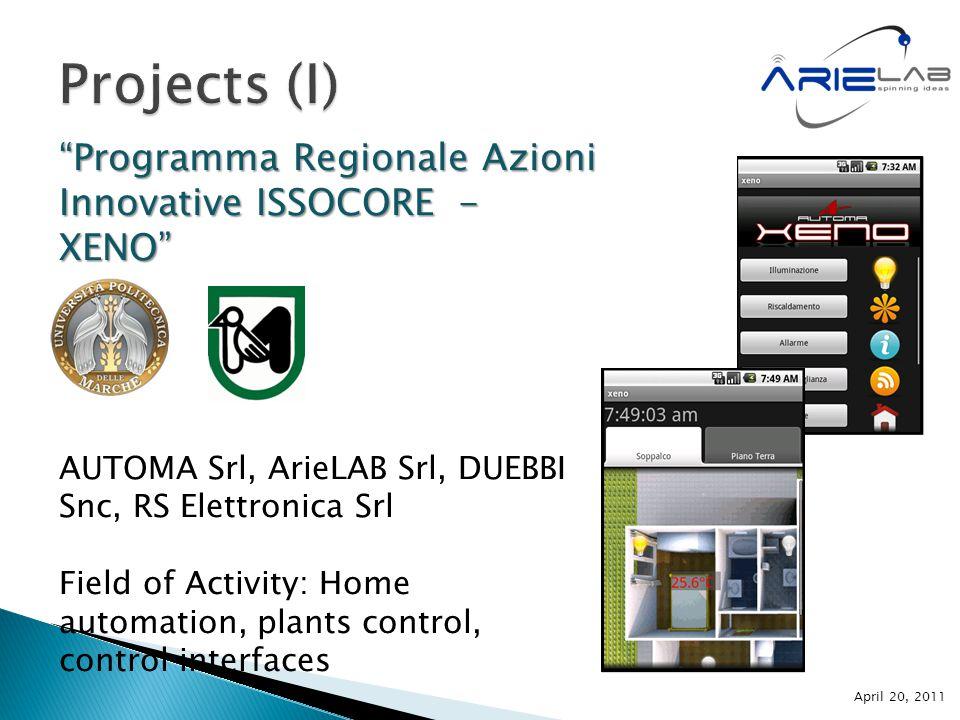 Programma Regionale Azioni Innovative ISSOCORE - XENO AUTOMA Srl, ArieLAB Srl, DUEBBI Snc, RS Elettronica Srl Field of Activity: Home automation, plants control, control interfaces April 20, 2011