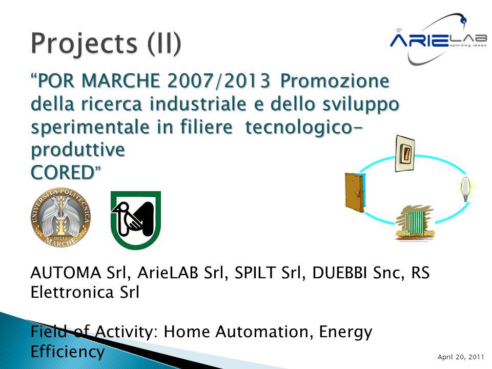 """""""POR MARCHE 2007/2013 Promozione della ricerca industriale e dello sviluppo sperimentale in filiere tecnologico- produttive CORED """" AUTOMA Srl, ArieLA"""
