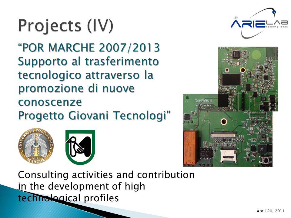 """""""POR MARCHE 2007/2013 Supporto al trasferimento tecnologico attraverso la promozione di nuove conoscenze Progetto Giovani Tecnologi"""" Consulting activi"""