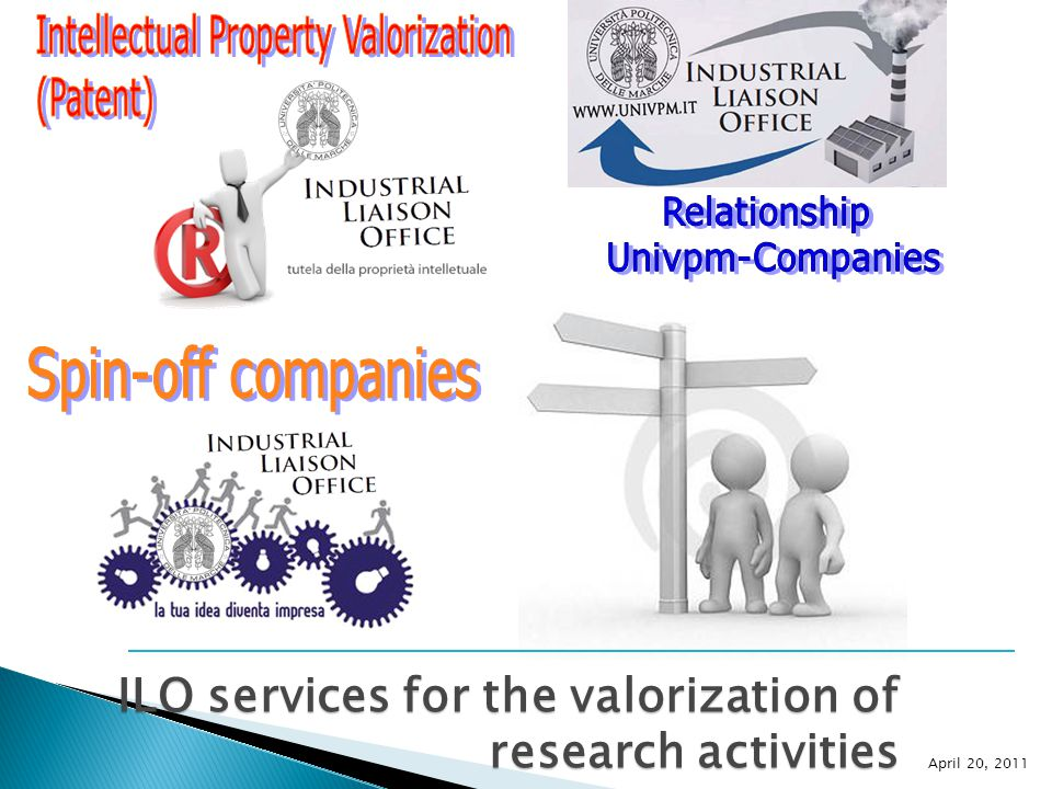 ILO services for the valorization of research activities April 20, 2011