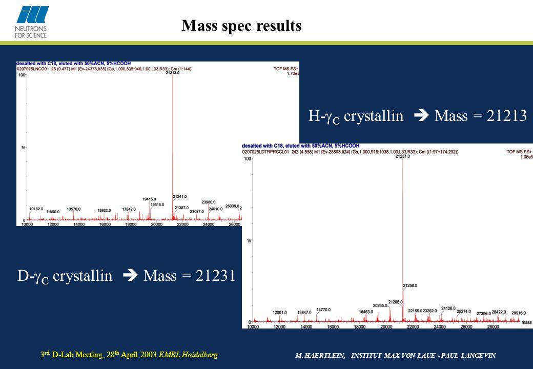 M. HAERTLEIN, INSTITUT MAX VON LAUE - PAUL LANGEVIN 3 rd D-Lab Meeting, 28 th April 2003 EMBL Heidelberg H-  C crystallin  Mass = 21213 D-  C cryst