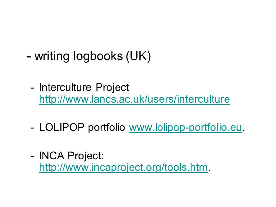 - writing logbooks (UK) -Interculture Project http://www.lancs.ac.uk/users/interculture http://www.lancs.ac.uk/users/interculture -LOLIPOP portfolio www.lolipop-portfolio.eu.www.lolipop-portfolio.eu -INCA Project: http://www.incaproject.org/tools.htm.