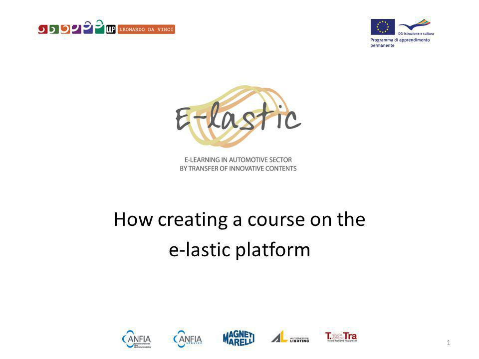 How creating a course on the e-lastic platform 1