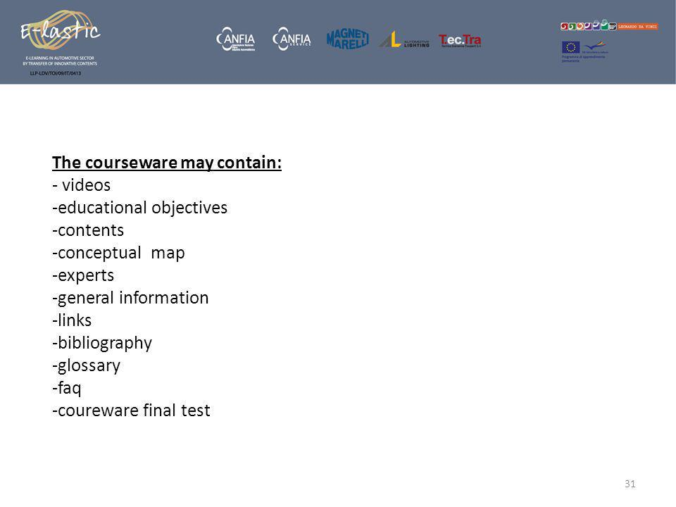 The courseware may contain: - videos -educational objectives -contents -conceptual map -experts -general information -links -bibliography -glossary -faq -coureware final test 31