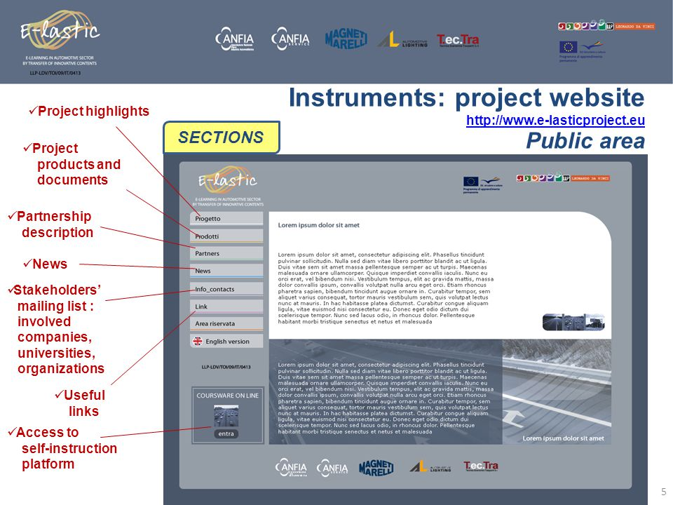 Instruments: project website http://www.e-lasticproject.eu http://www.e-lasticproject.eu Public area 5 SECTIONS Project highlights Project products an