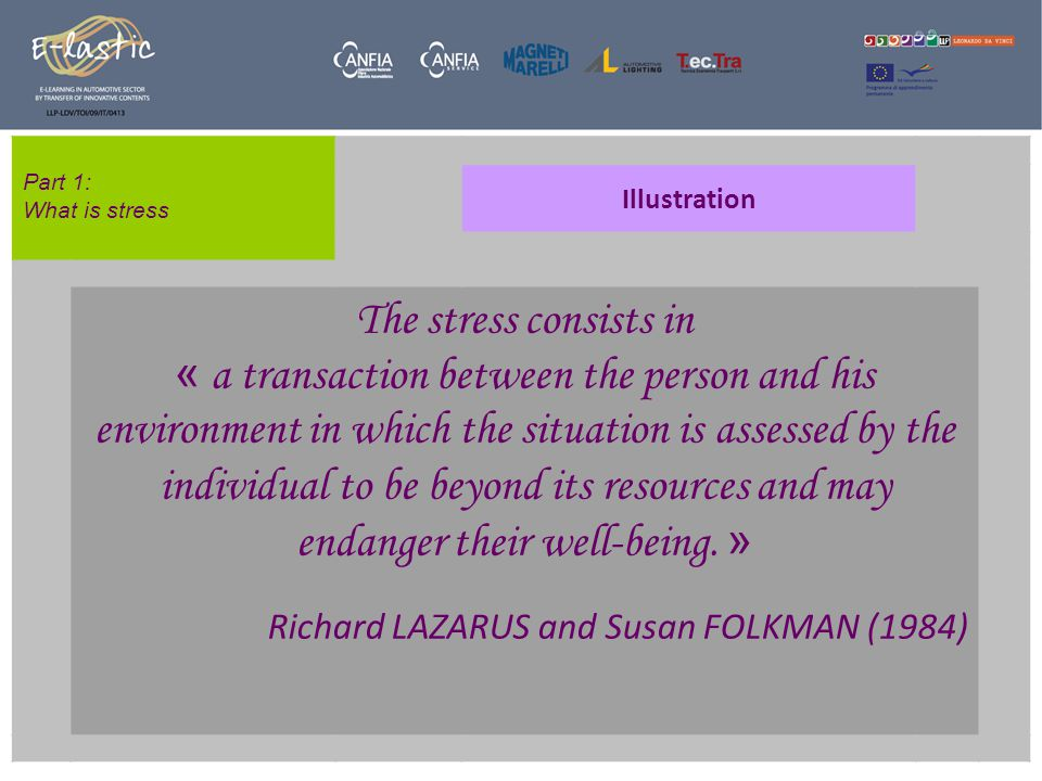 Part 1: What is stress Illustration The stress consists in « a transaction between the person and his environment in which the situation is assessed by the individual to be beyond its resources and may endanger their well-being.