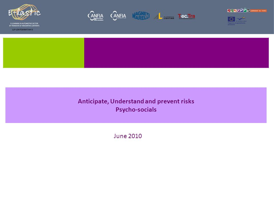 Anticipate, Understand and prevent risks Psycho-socials June 2010
