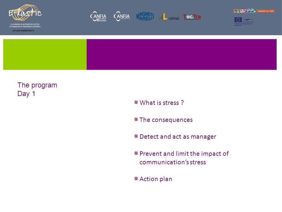 Part 4: Act on stress as a manager The relay In this role the manager must :  pass information  Upward, downward or horizontally  to get directions  be « bridged » decisions taken over him