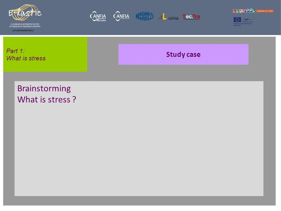 Part 1: What is stress Study case Brainstorming What is stress ?